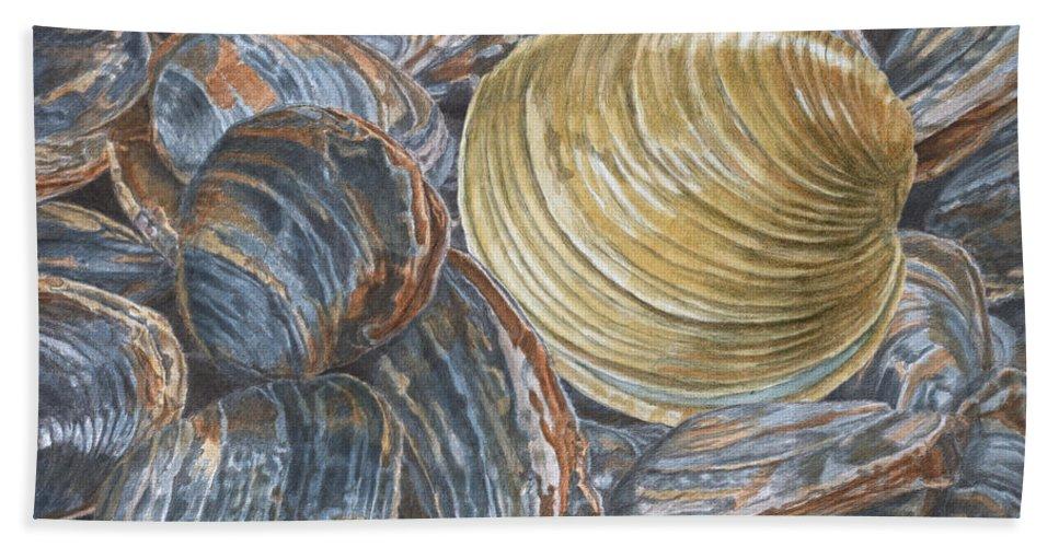 Quahog Bath Sheet featuring the painting Quahog On Clams by Dominic White
