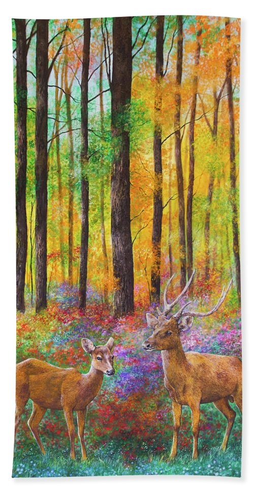 Deer Bath Sheet featuring the painting Quantic Dream by Jan Camerone