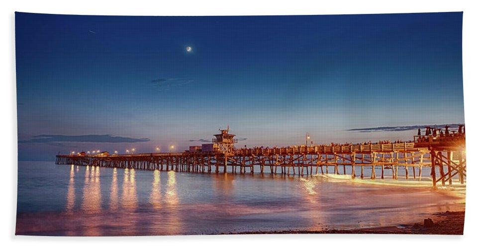 San Clemente Bath Sheet featuring the photograph Quarter The Moon by Scott Campbell