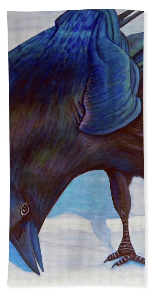 Raven Bath Sheet featuring the painting Que Pasa by Brian Commerford