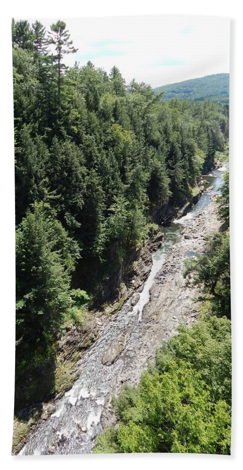 Quechee Hand Towel featuring the photograph Quechee Gorge by Lisa Cassinari