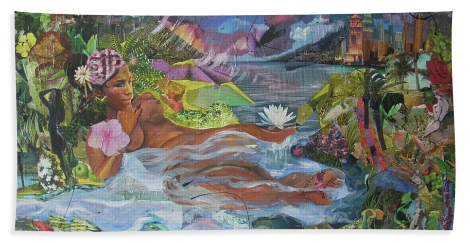 Queen Hand Towel featuring the painting Queen City Dreaming by Hasaan Kirkland