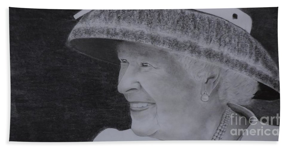The Queen On Her Visit To Canada 2010 Hand Towel featuring the drawing Queen Elizabeth II by Lise PICHE