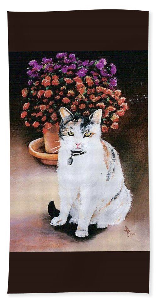 Cat Hand Towel featuring the pastel Queen Marishka by Gale Cochran-Smith