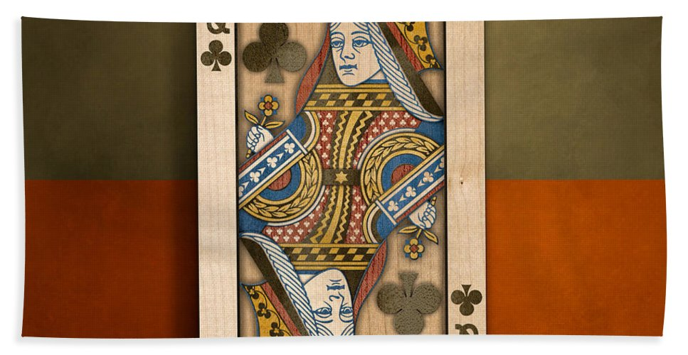 Boards Bath Towel featuring the photograph Queen Of Clubs In Wood by YoPedro