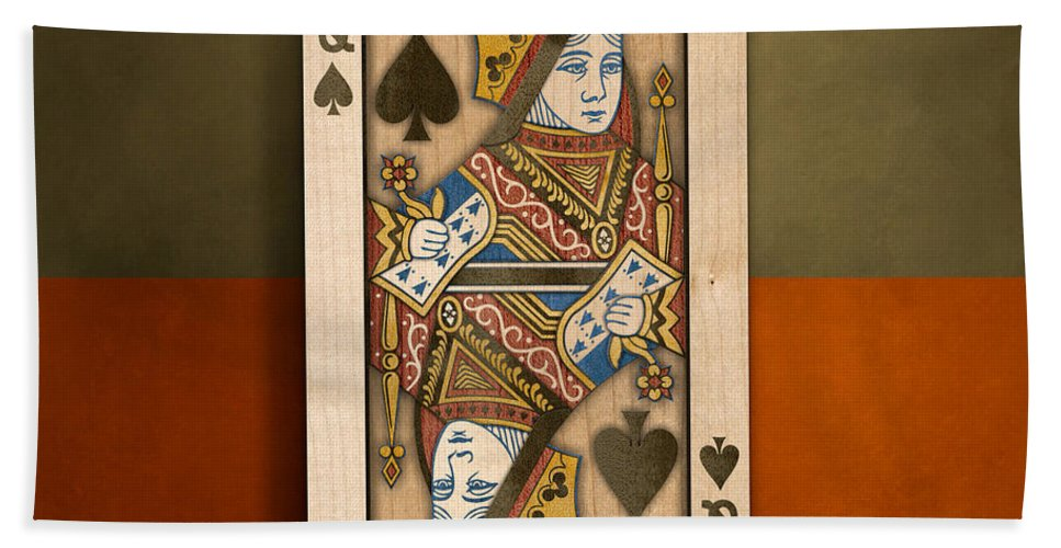 Black Bath Sheet featuring the photograph Queen Of Spades In Wood by YoPedro