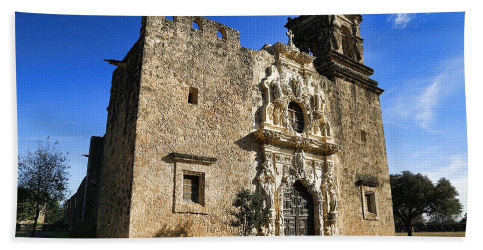 Texas Bath Sheet featuring the photograph Queen Of The Missions - San Jose by Stephen Stookey