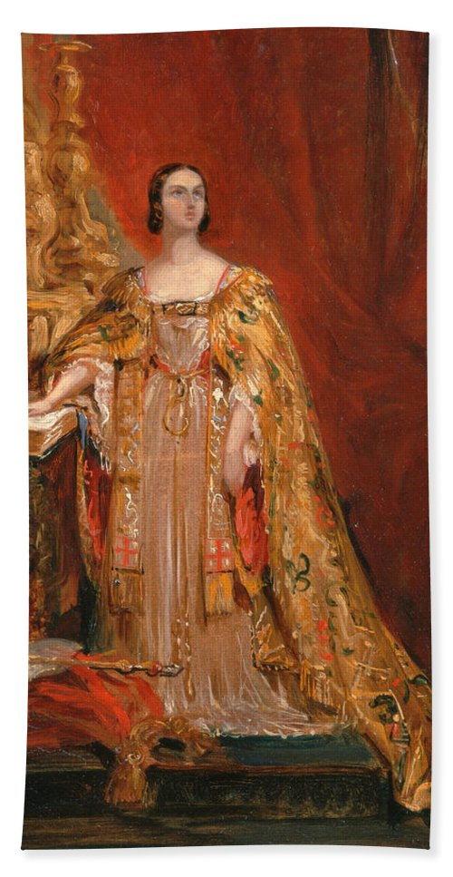 George Hayter Hand Towel featuring the painting Queen Victoria Taking The Coronation Oath 28 June 1838 by George Hayter
