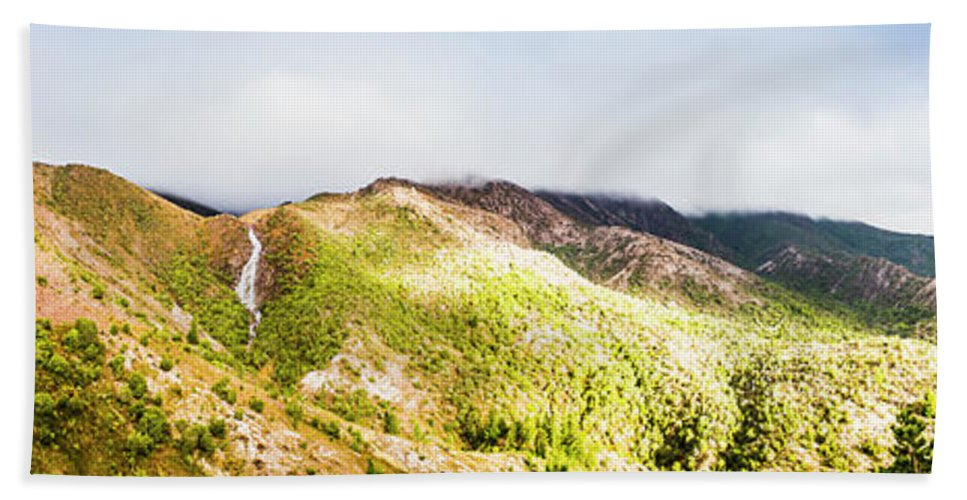 Tasmania Hand Towel featuring the photograph Queenstown Tasmania Wide Mountain Landscape by Jorgo Photography - Wall Art Gallery