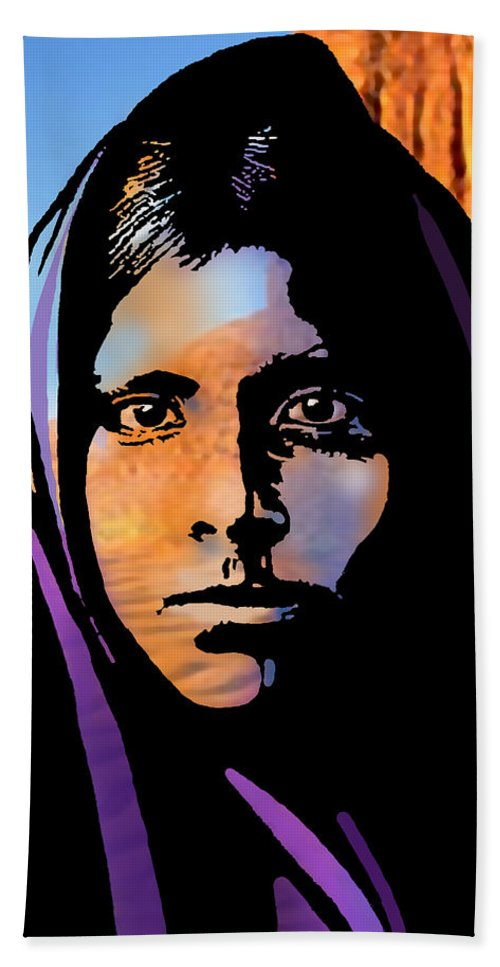 Native Americans Hand Towel featuring the painting Quhatika Girl by Paul Sachtleben