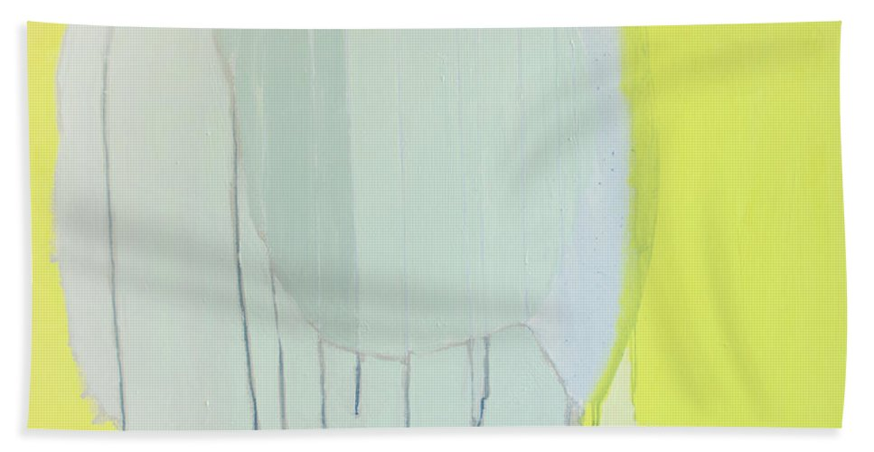 Abstract Hand Towel featuring the painting Quien Esta? by Claire Desjardins