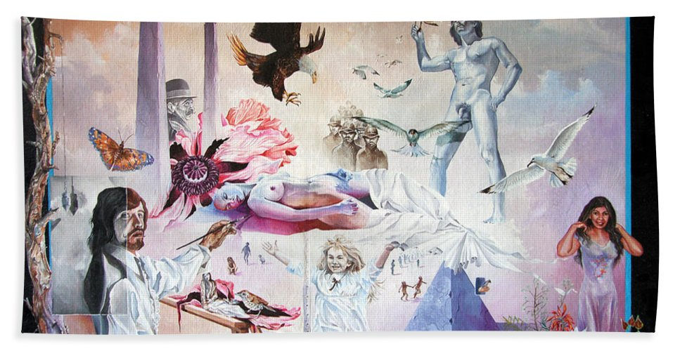 Surrealism Bath Sheet featuring the painting Quiet Afternoon At The Studio by Otto Rapp