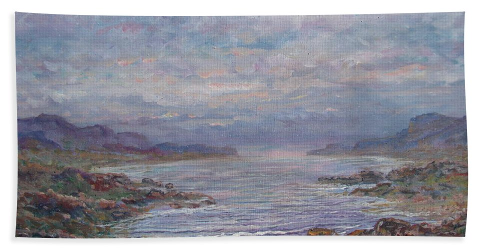 Painting Bath Sheet featuring the painting Quiet Bay. by Leonard Holland