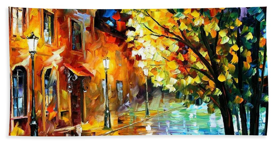Art Gallery Bath Sheet featuring the painting Quiet Corner-garden On The Stones - Palette Knife Oil Painting On Canvas By Leonid Afremov by Leonid Afremov