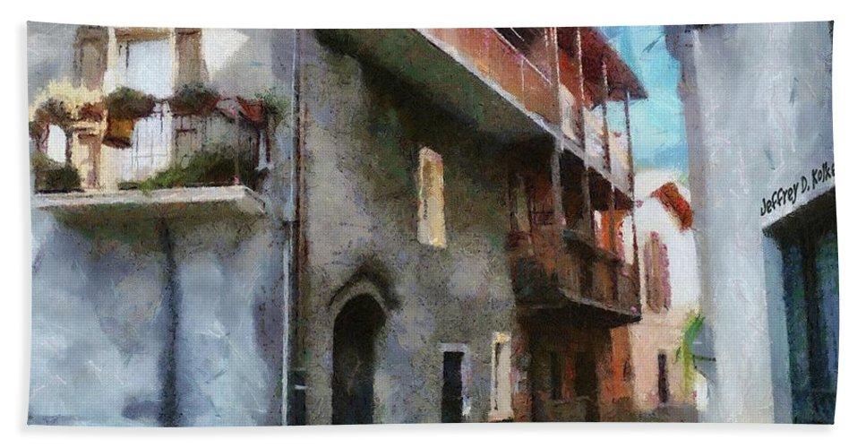 Almenno San Salvatore Bath Sheet featuring the painting Quiet In Almenno San Salvatore by Jeffrey Kolker