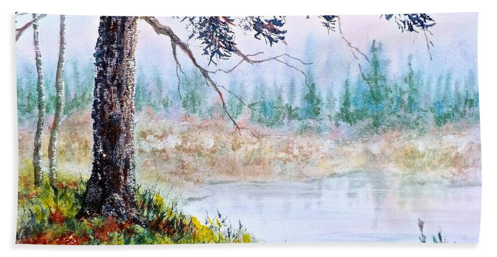 Watercolor Bath Sheet featuring the painting Quiet Inlet by Carolyn Rosenberger