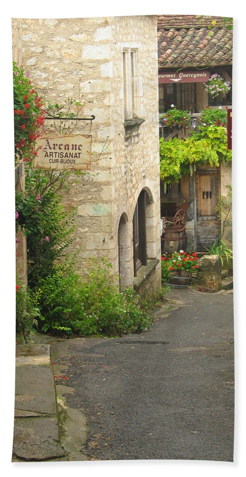 France Bath Sheet featuring the photograph Quiet Lane In St Cirq I France by Greg Matchick