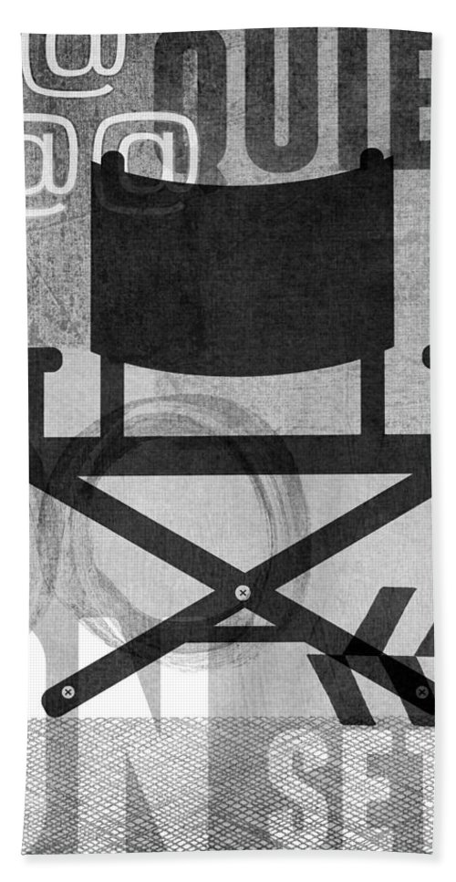 Movie Bath Towel featuring the digital art Quiet On Set- Art by Linda Woods by Linda Woods
