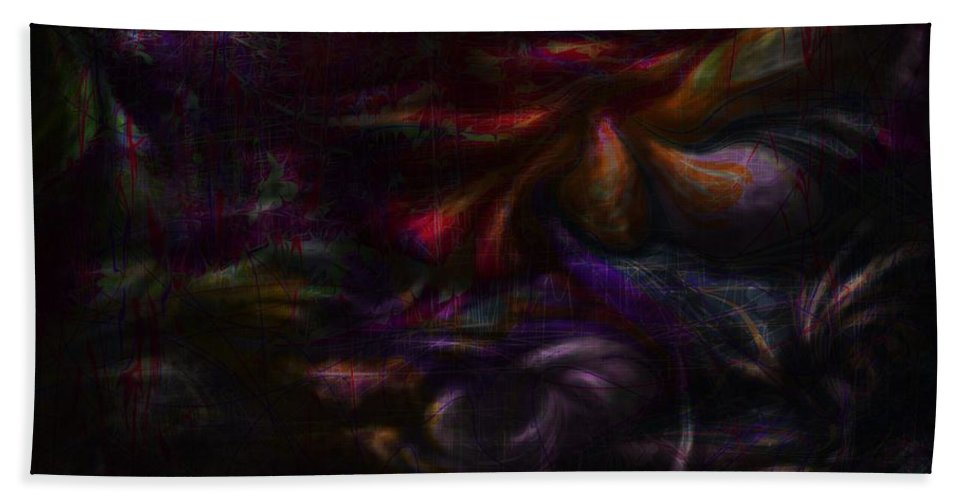 Abstract Bath Sheet featuring the digital art Quiet Places Of Long Ago by Rachel Christine Nowicki