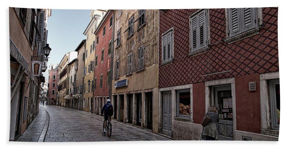Croatia Bath Sheet featuring the photograph Quiet Street In Rovinj - Croatia by Stuart Litoff