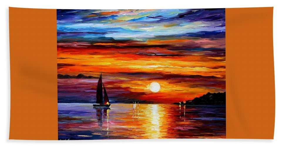 Afremov Bath Sheet featuring the painting Quiet Sunset by Leonid Afremov