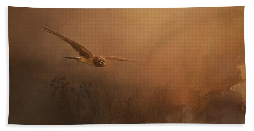 Quiet Time Bath Sheet featuring the painting Quiet Time - Bird Of Prey Art by Jordan Blackstone