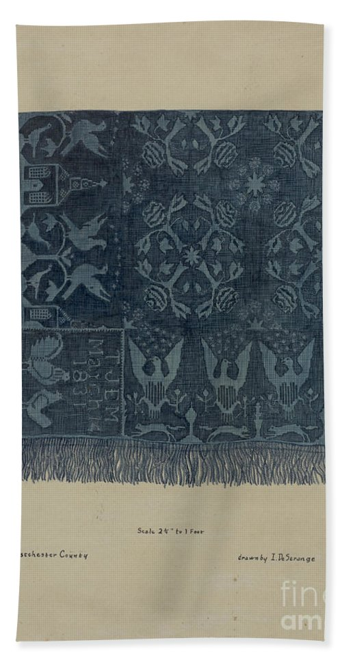 Hand Towel featuring the drawing Quilt by Isabelle De Strange