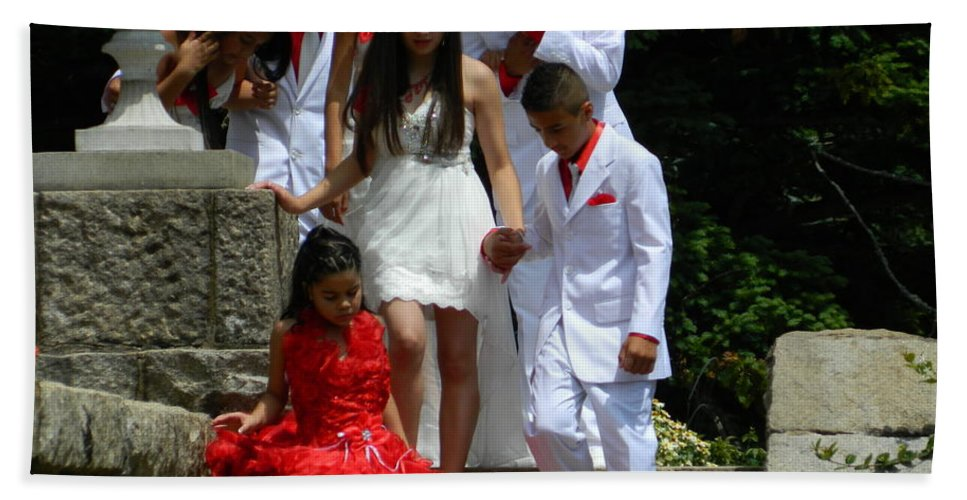 Quinceanera Hand Towel featuring the photograph People Series - Quinceanera Ceremony by Arlane Crump