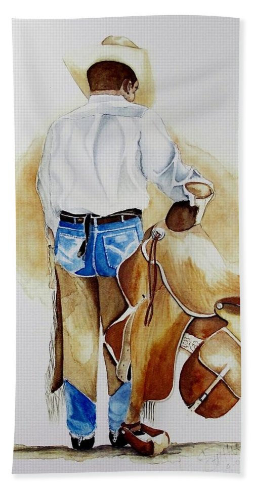 Boots Bath Sheet featuring the painting Quittin Time by Jimmy Smith