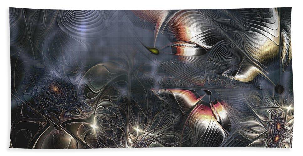Abstract Bath Sheet featuring the digital art Quixotic Cerebrations by Casey Kotas