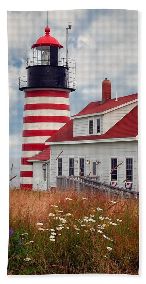 West Quoddy Lighthouse Bath Towel featuring the photograph Quoddy Lighthouse Afternoon by Brenda Giasson