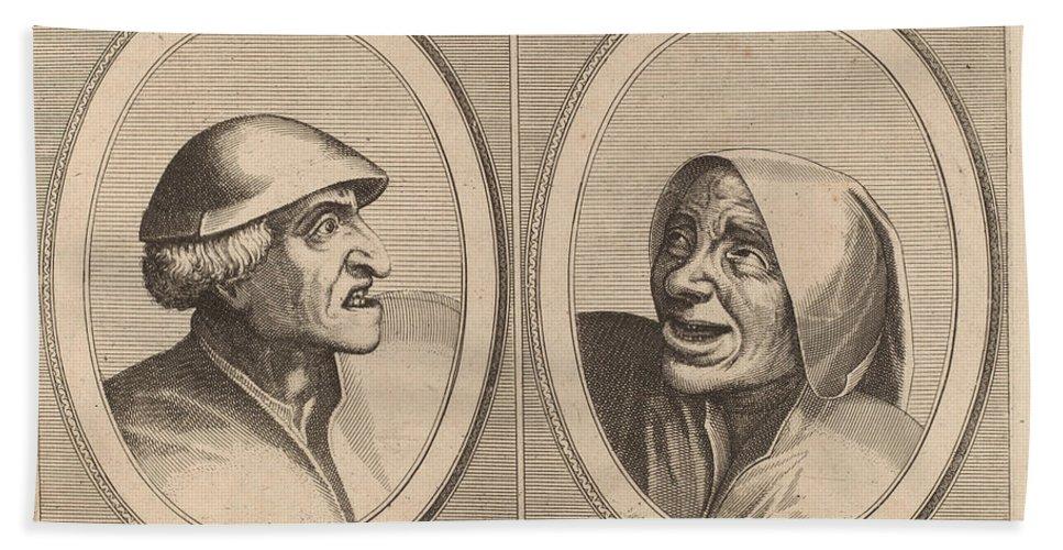 """Hand Towel featuring the drawing """"dief-achtighe Tijs"""" And """"nies Spoel-de-nap"""" by Johannes And Lucas Van Doetechum After Pieter Bruegel The Elder"""