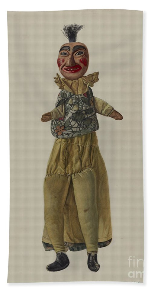 """Hand Towel featuring the drawing """"punch"""" Clown Puppet by Florian Rokita"""