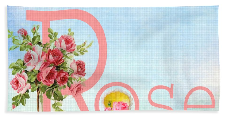 R For Rose Hand Towel featuring the mixed media R For Rose by L Wright
