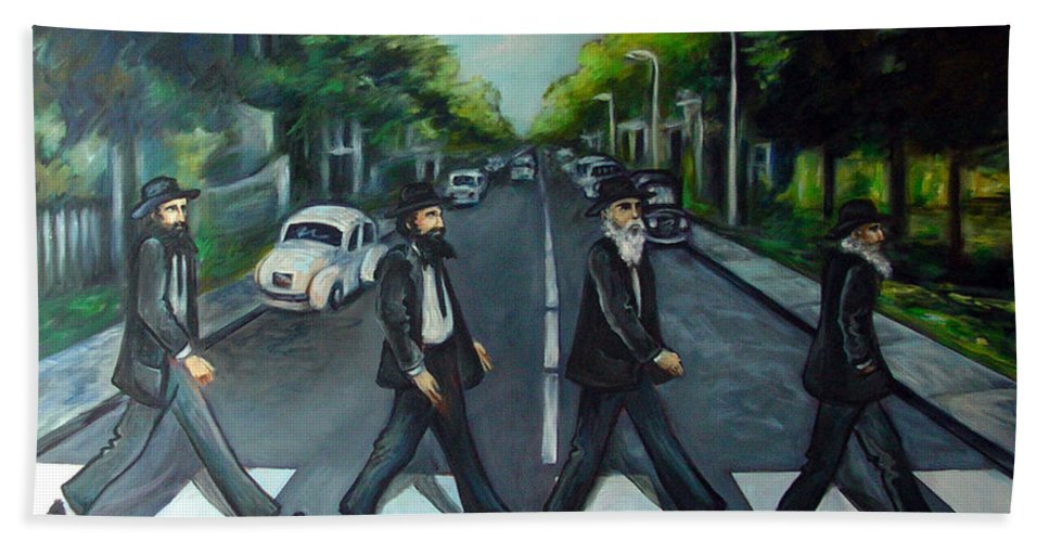 Surreal Bath Sheet featuring the painting Rabbi Road by Valerie Vescovi