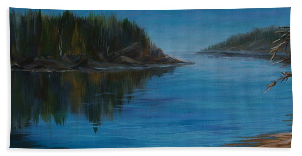 Lake Hand Towel featuring the painting Rabbit Blanket Lake by Joanne Smoley