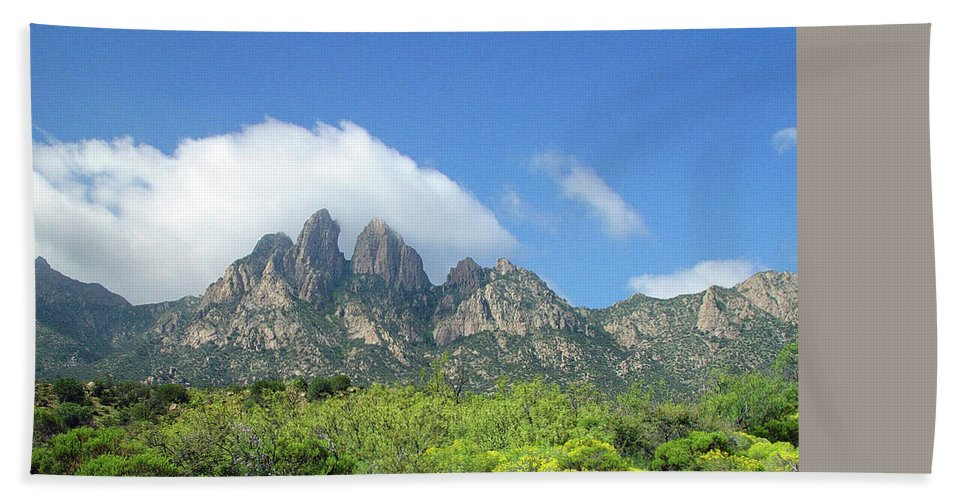Lonely Road Bath Sheet featuring the photograph Organ Mountains Rabbit Ears by Jack Pumphrey
