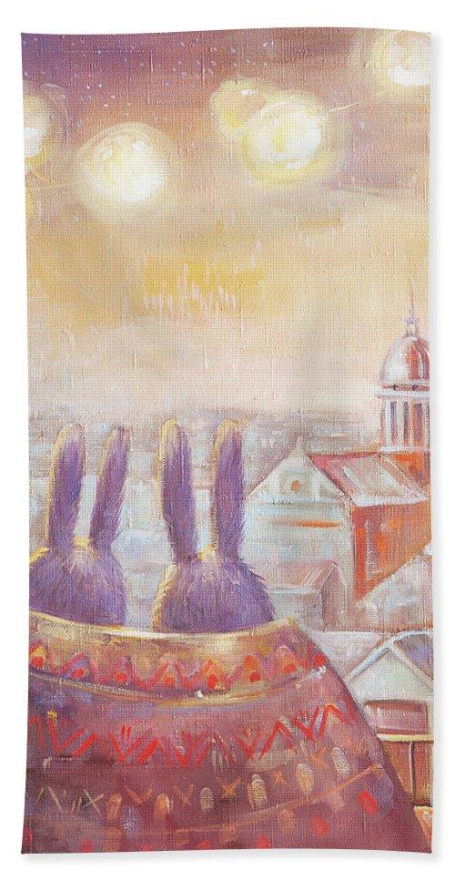 Rabbit Hand Towel featuring the painting Rabbits In Rome by Olga Yatsenko