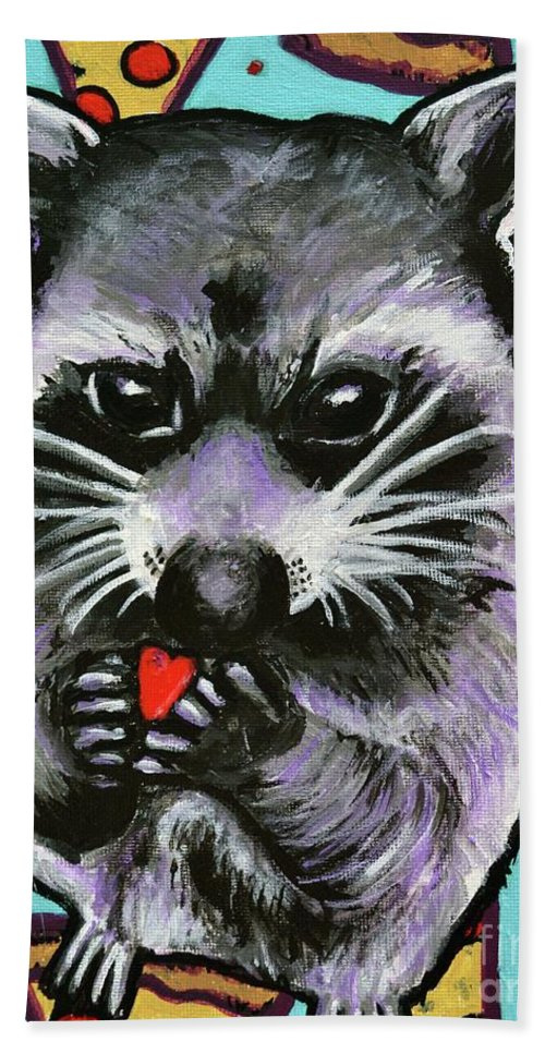 Raccoon Hand Towel featuring the painting Trash Panda Finds Love by Monika Sylvestre