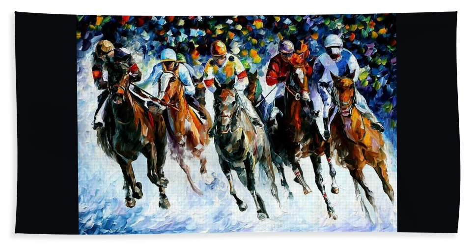 Race Hand Towel featuring the painting Race On The Snow by Leonid Afremov