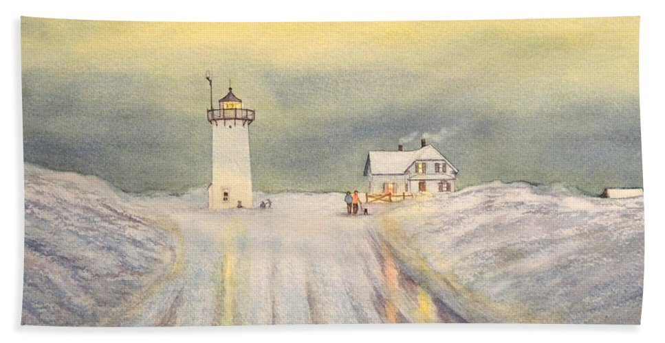 Race Point Lighthouse Hand Towel featuring the painting Race Point Lighthouse Provincetown by Bill Holkham