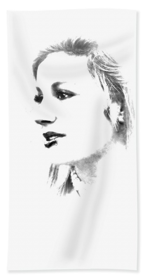 Black And White Hand Towel featuring the photograph Rachell by Kristie Bonnewell