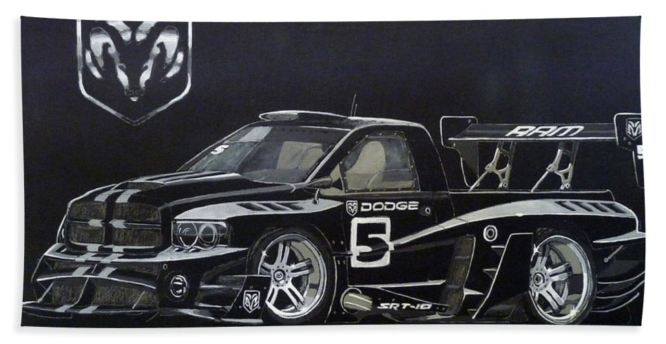 Truck Hand Towel featuring the painting Racing Dodge Pickup by Richard Le Page