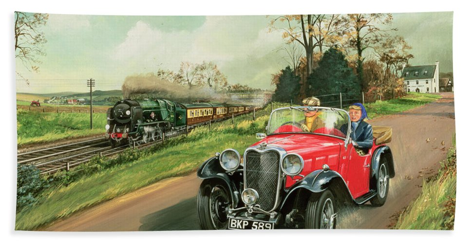 Car Bath Towel featuring the painting Racing The Train by Richard Wheatland