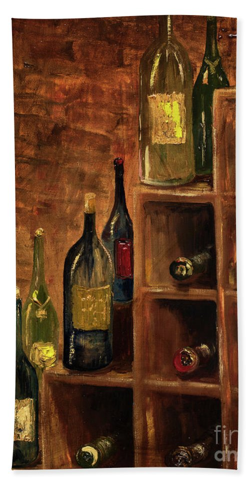 Wine Bath Sheet featuring the painting Racked Wine by Jodi Monahan