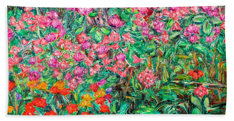 Kendall Kessler Bath Sheet featuring the painting Radford Flower Garden by Kendall Kessler