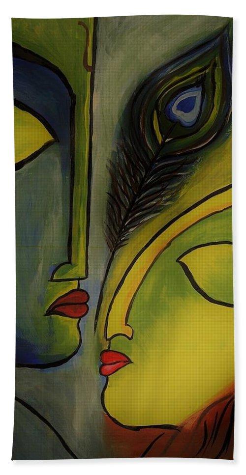 Radha Krishna Abstract Painting Hand Towel For Sale By Vijay Sonar