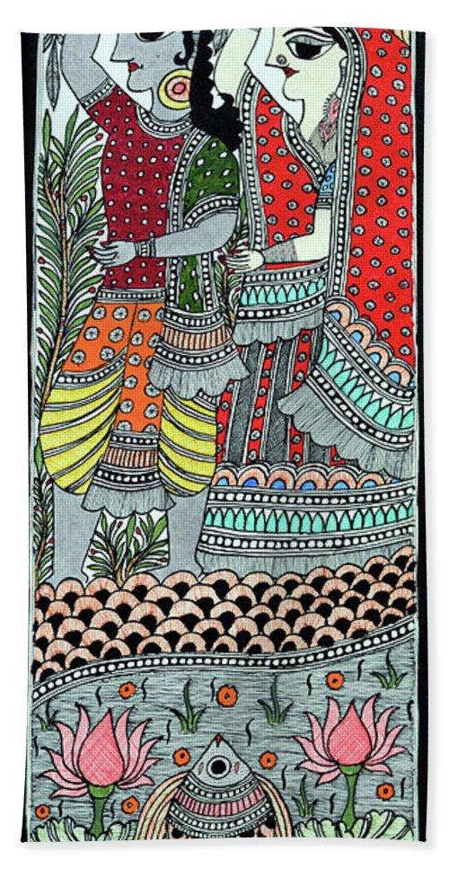 Bath Sheet featuring the painting Radha Krishna Fish by Prerna