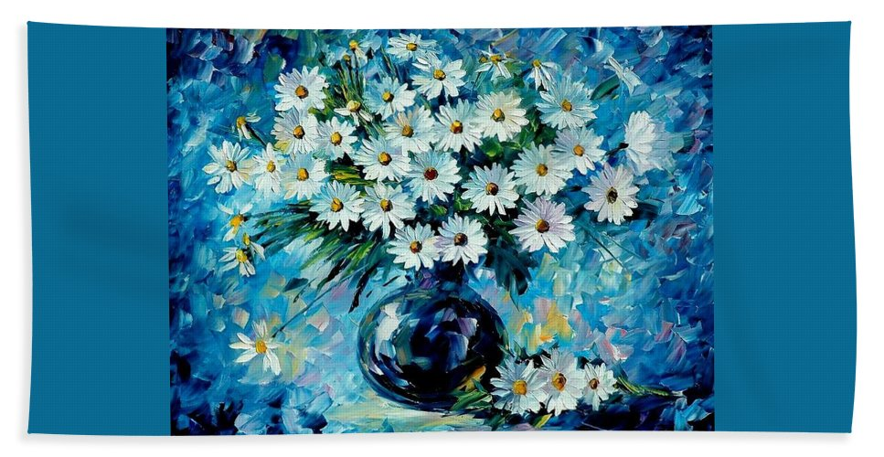 Floral Bath Towel featuring the painting Radiance by Leonid Afremov