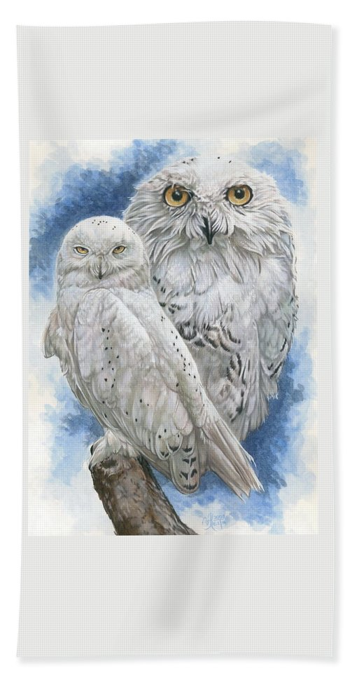 Snowy Owl Bath Sheet featuring the mixed media Radiant by Barbara Keith